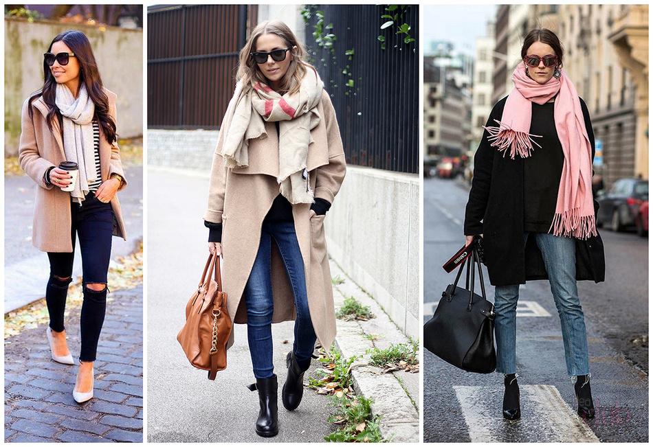 как носить платок с пальто фото
