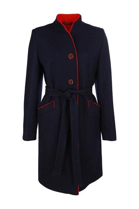 acec6a5cbe139 Женское демисезонное кашемировое пальто с поясом О-731 - средней длины,  цвет синий,