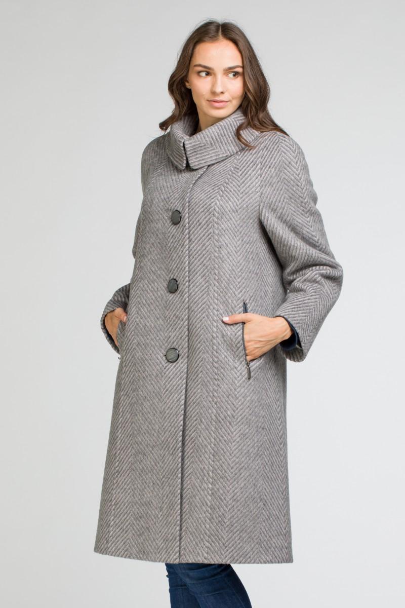 7fa24594fb7d9 Женское пальто большого размера О-125 - средней длины, цвет синий,коричневый
