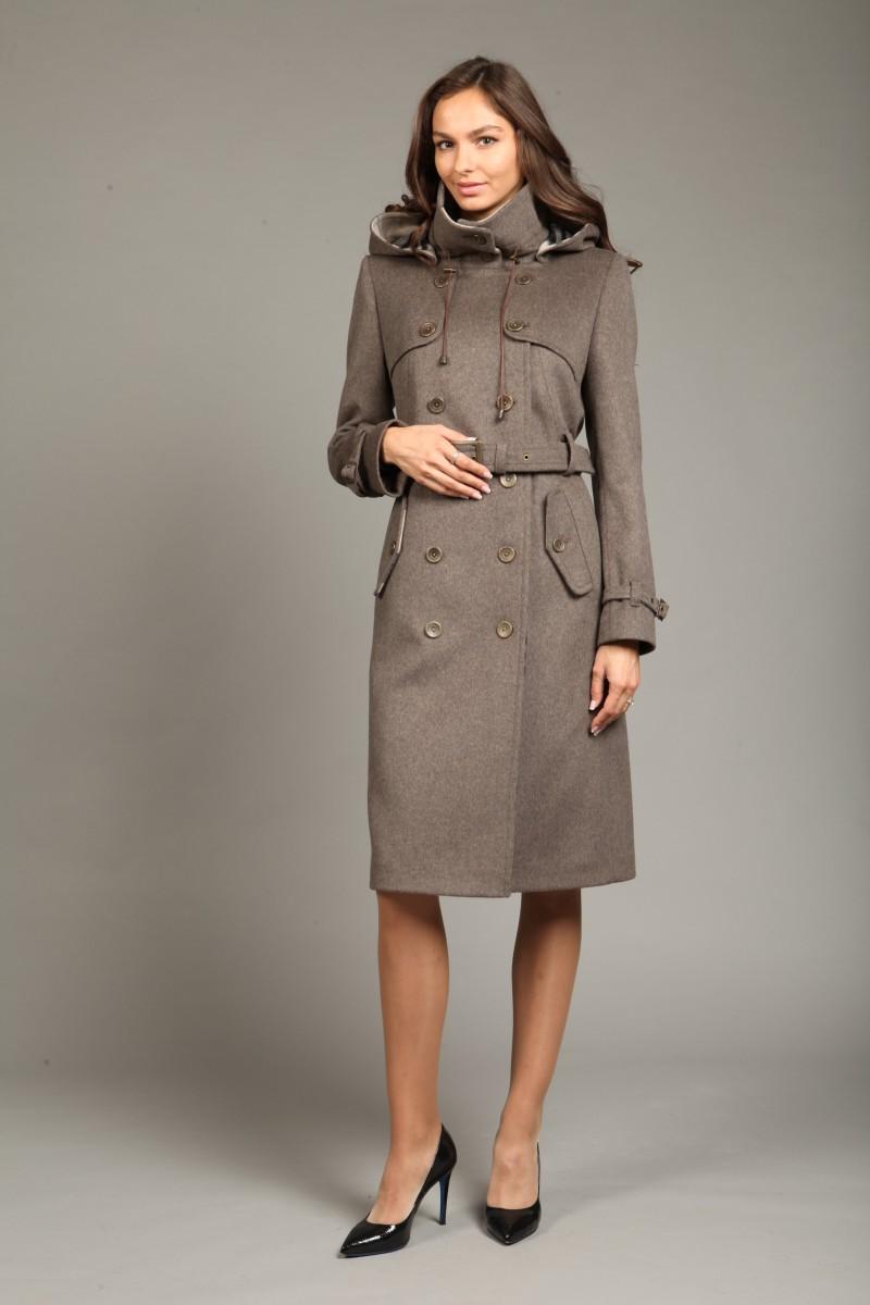 3eee99674e7 Женское кашемировое пальто с капюшоном О-782 - длинное