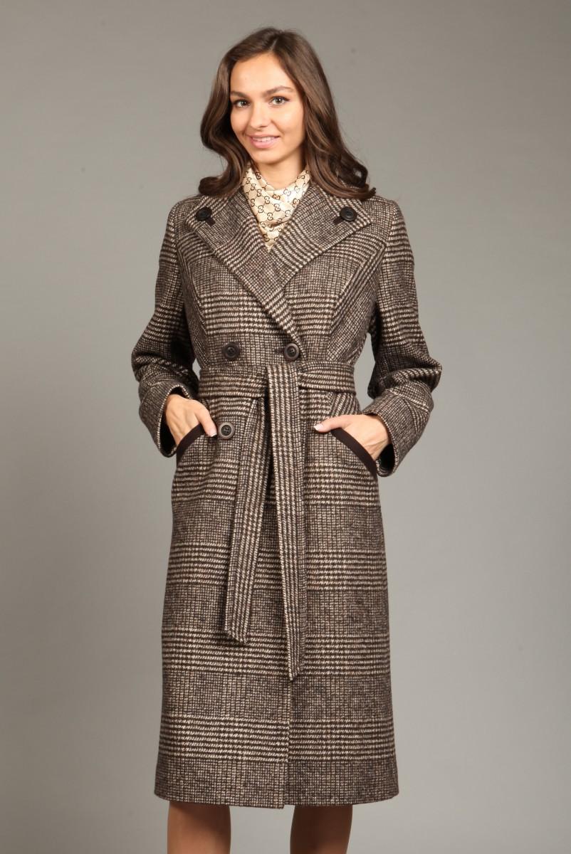 adc45e3ccf0 Женское демисезонное пальто из твида О-784 - длинное