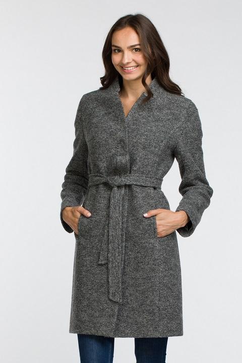 4880643e060c5 Молодежное пальто из вареной шерсти О-851 - средней длины, цвет  серый,голубой