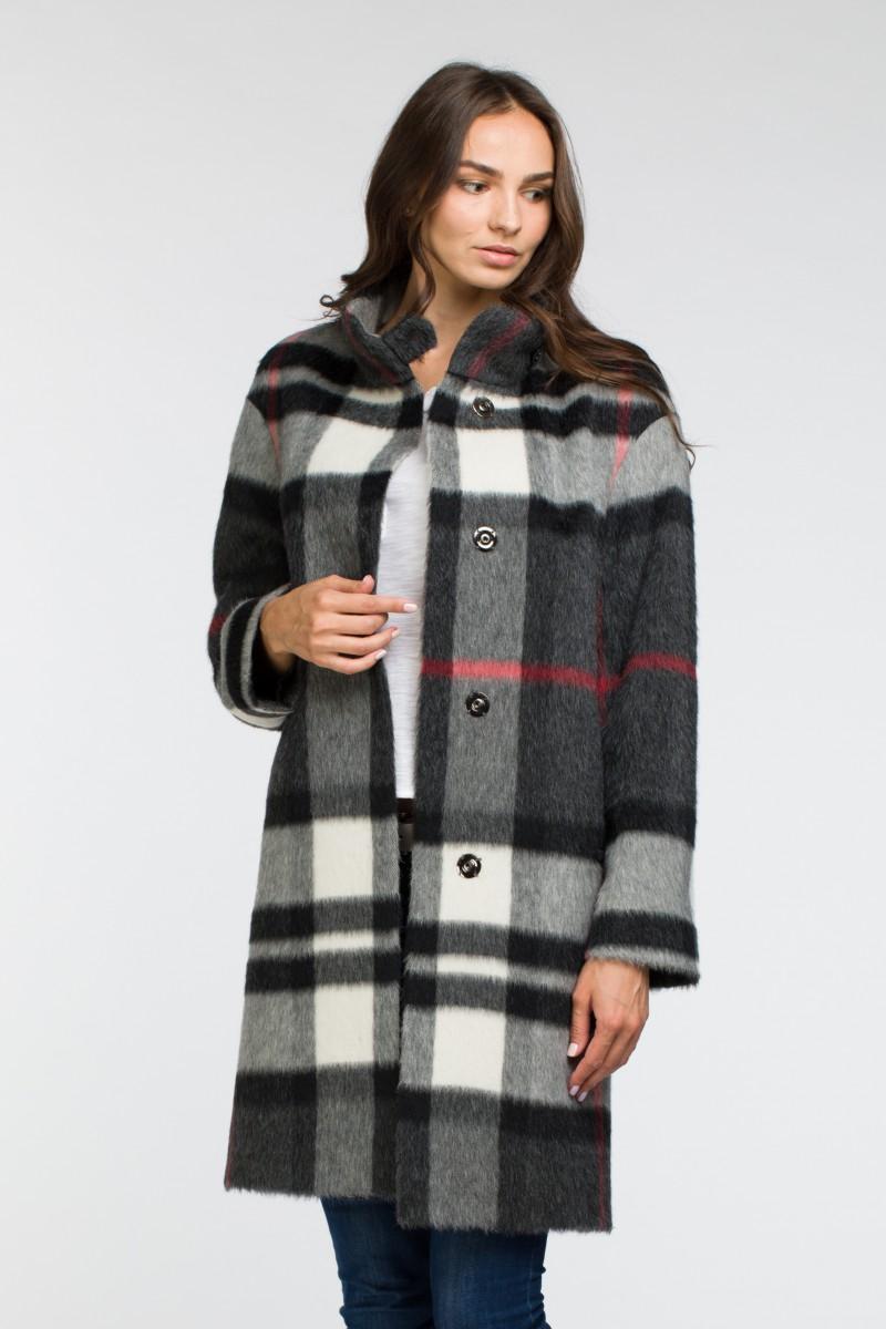 275bf31125c Женское демисезонное пальто в клетку О-858 - средней длины