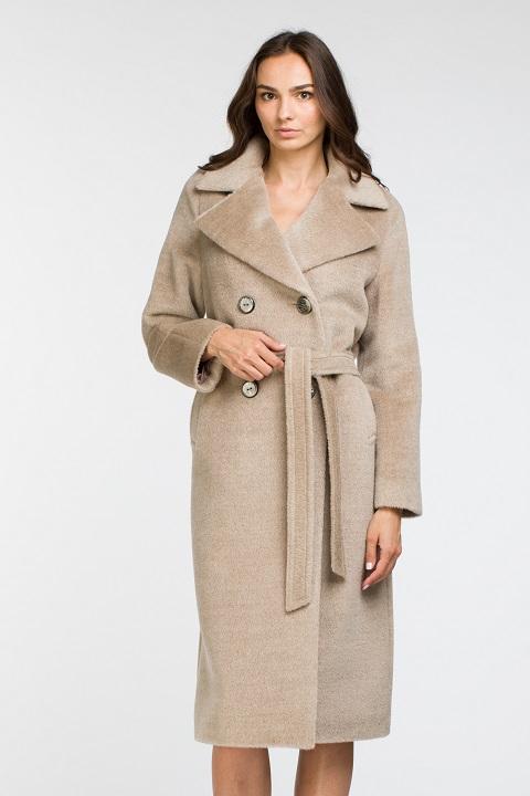 17591792617 Женское демисезонное пальто из ламы О-864 - длинное