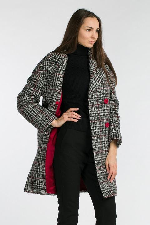 2449ffe5690 Женское пальто в клетку О-889 - средней длины