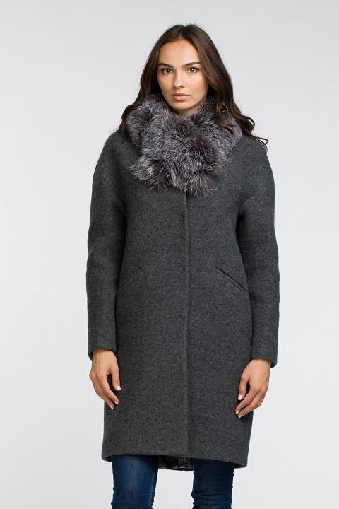 Женское зимнее пальто с меховым воротником О-830 - средней длины beefbe36b96c3
