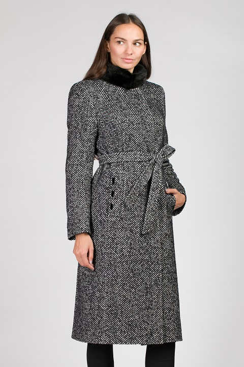 Женское зимнее пальто в елочку О-876 - длинное 82b42e1b64e90